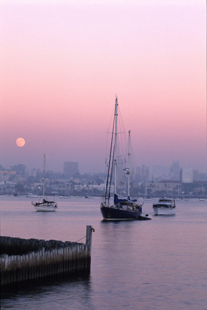 Moonrise, Sunset, San Diego Bay