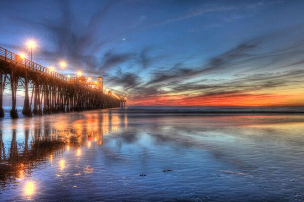 Sunset Lights on Oceanside Pier, Oceanside CA.